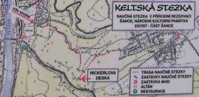 Mapa Zbraslav - Točná, Nickerleho deska na Keltské stezce. www.zbraslav.info